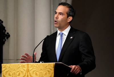 Texas Land Commissioner George P. Bush eulogizes his grandfather, former President George H.W. Bush, on Thursday at St. Martin's Episcopal Church in Houston.