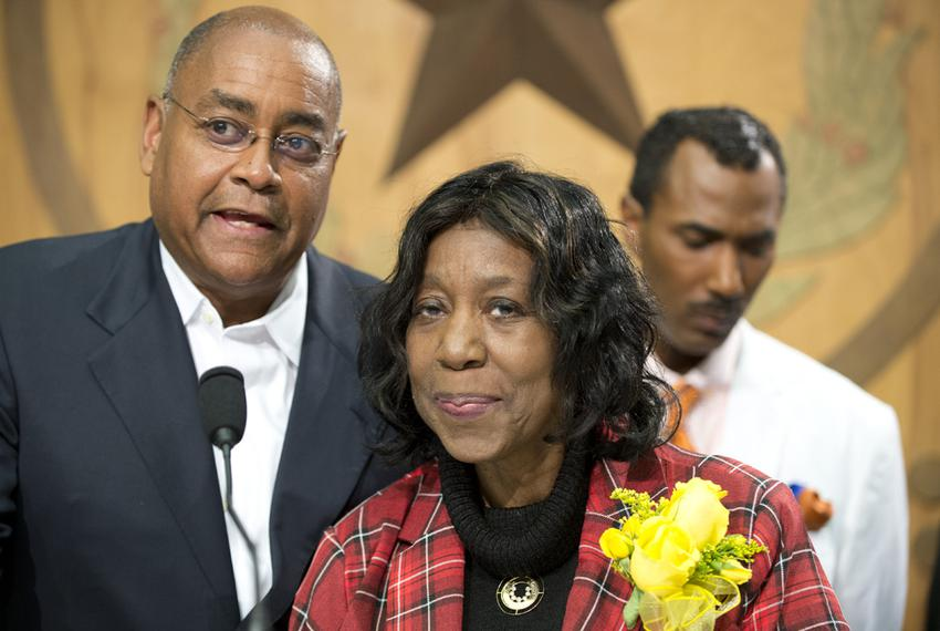 Sen. Rodney Ellis and State Rep. Ruth Jones McClendon, D-San Antonio, celebrate Gov. Abbott's signing of HB48 that establish…