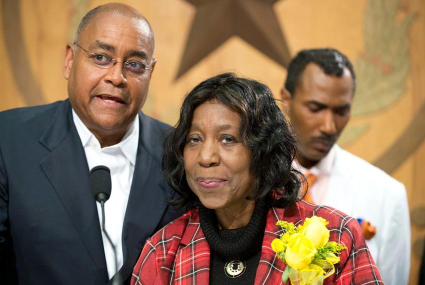 Sen. Rodney Ellis and State Rep. Ruth Jones McClendon, D-San Antonio, celebrate Gov. Abbott's signing of HB48 that establi...