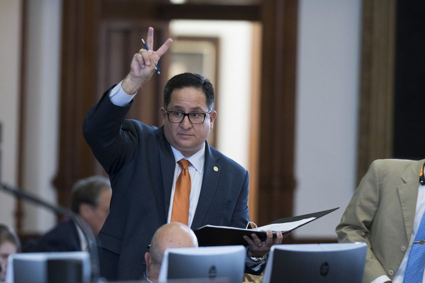 State Rep. Larry Gonzales, R-Round Rock,  votes no on amendment #12 on SB 312, the Texas Department of Transportation (TxDOT) sunset bill in the Texas House.  Gonzales is trying to keep non-pertinent amendments off the bill as the House considers over 50 amendments.