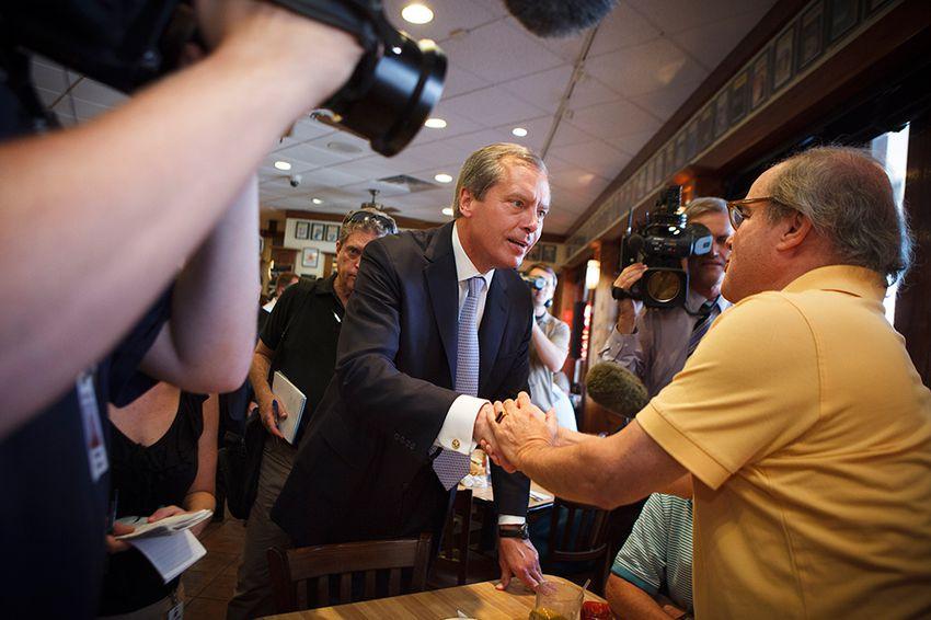 Lt. Gov. David Dewhurst met voters on July 31, 2012, in a Houston deli on the day of the GOP primary runoff. Dewhurst lost the U.S. Senate primary runoff to Ted Cruz.