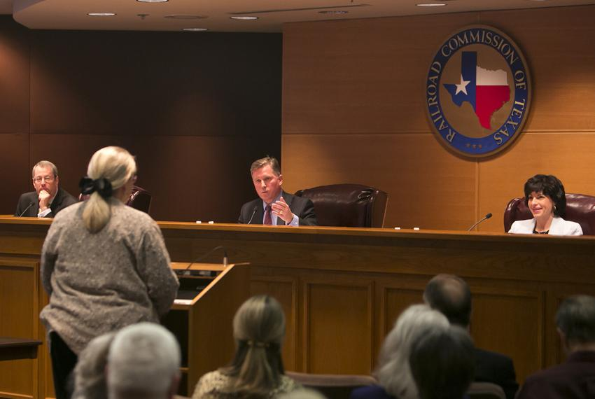 Lynda Stokes, the mayor of Reno, Texas, testified before the Texas Railroad Commission on Jan. 21, 2014, about her concerns …