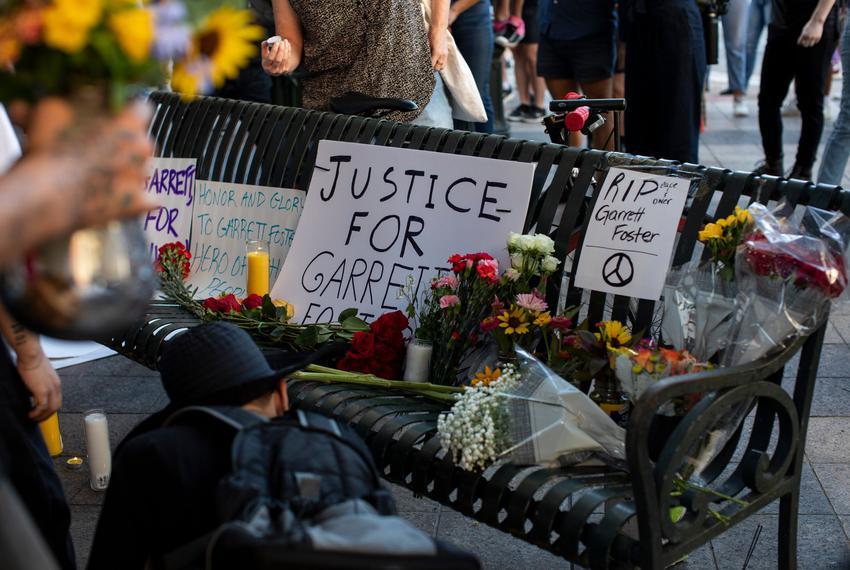 A vigil is created for Garrett Foster on July 27, 2020, in Austin.