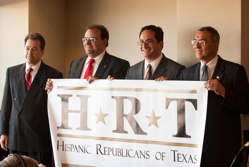 The group Hispanic Republicans of Texas at a news conference Nov. 3, 2010.