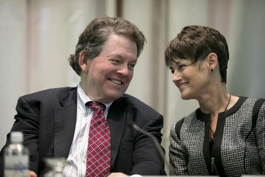 TPPF economist Dr. Arthur Laffer and Sen. Donna Campbell, R-New Braunfels, at the 2015 Policy Orientation session on School …