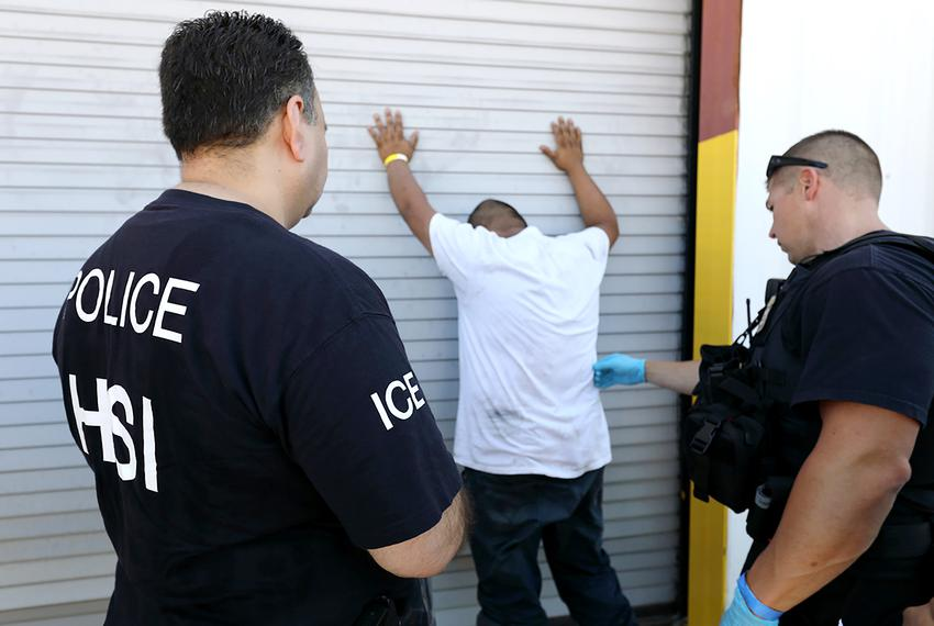 U.S. Immigration and Customs Enforcement's (ICE) Homeland Security Investigations (HSI) officers execute criminal search w...