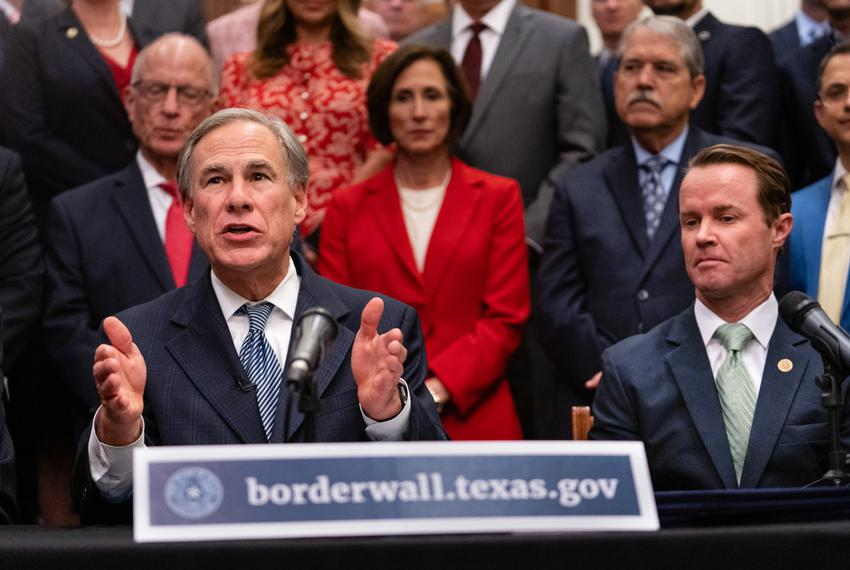 From left: Gov. Greg Abbott and House Speaker Dade Phelan gave updates on their plan for Texas to build its own border wall …