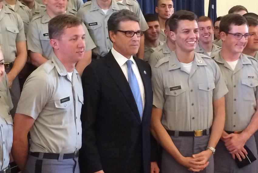 Former Gov. Rick Perry poses with cadets after delivering a foreign policy speech at The Citadel, South Carolina's militar...