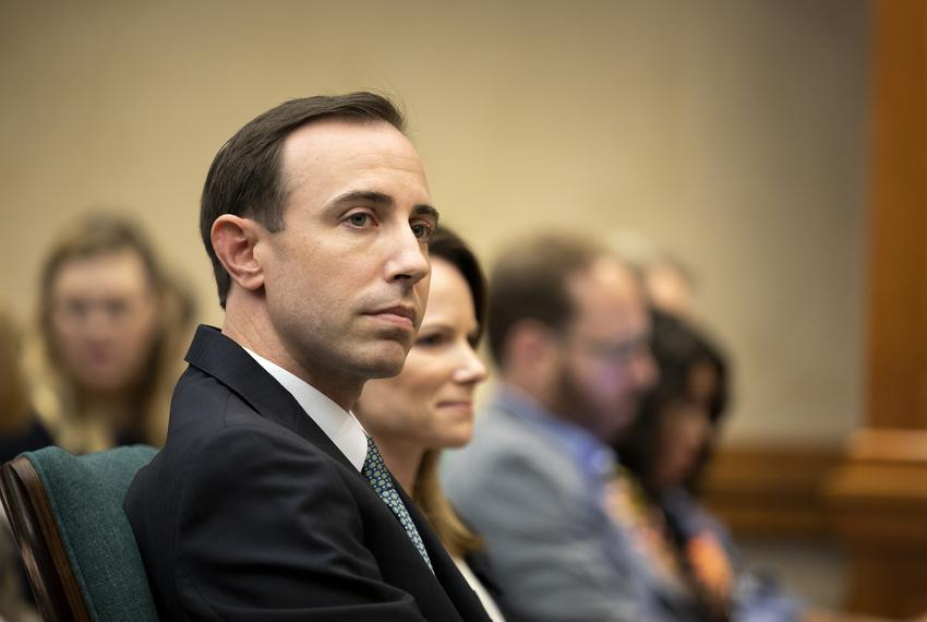 Texas Secretary of State David Whitley at a state Senate Committee on Nominations hearing on Feb. 7, 2019. Whitley was appoi…