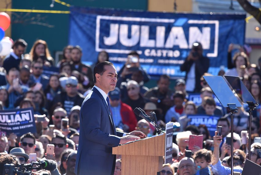 Former Housing and Urban Development Secretary Julián Castro announces his 2020 bid for president in San Antonio on Jan. 12, 2019. Castro served as mayor of San Antonio from 2009 to 2014.