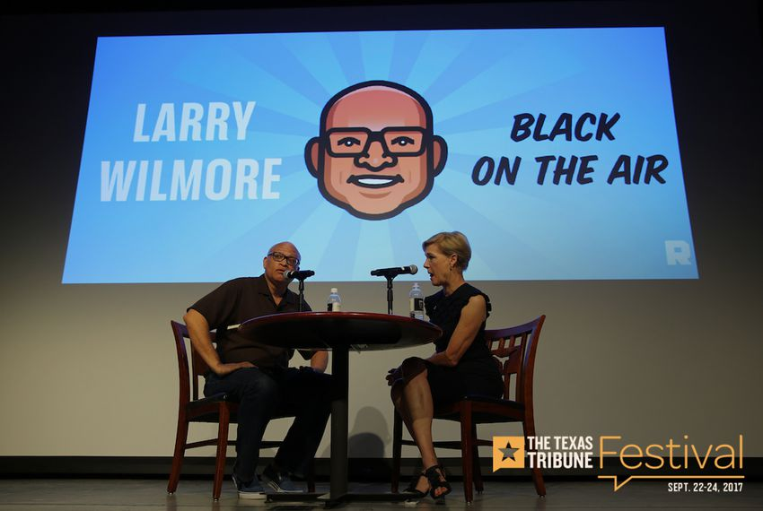 "Larry Wilmore hosts a live recording of the ""Black on the Air"" podcast featuring Cecile Richards at The Texas Tribune Festival on Sept. 23, 2017."