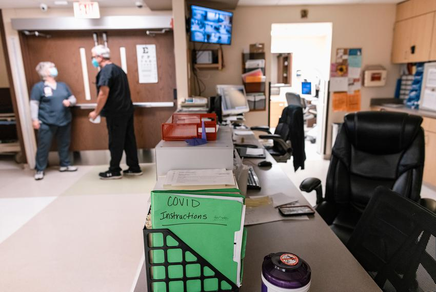 The front desk of the emergency room at Goodall-Witcher Hospital in Clifton on August 3, 2021.
