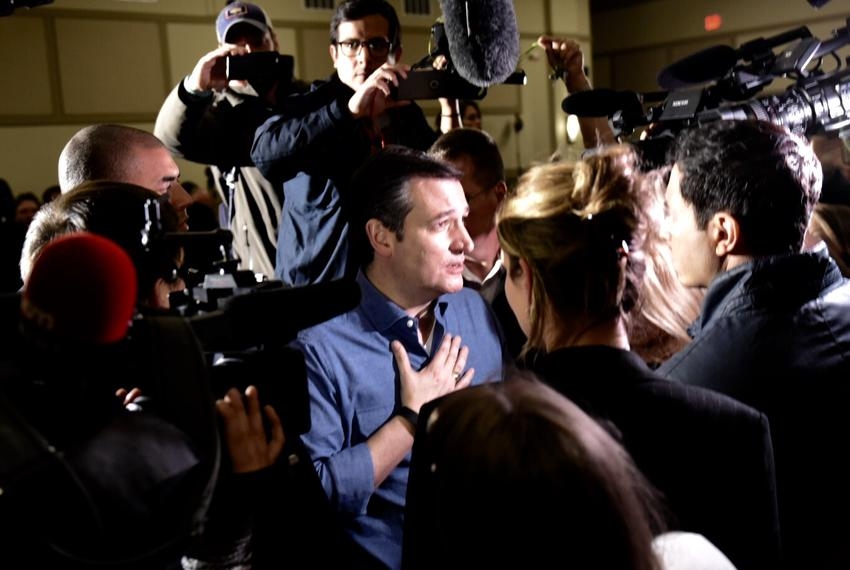 Ted Cruz greets supporters after a rally Wednesday in West Des Moines, Iowa. The Republican presidential candidate is barnst…