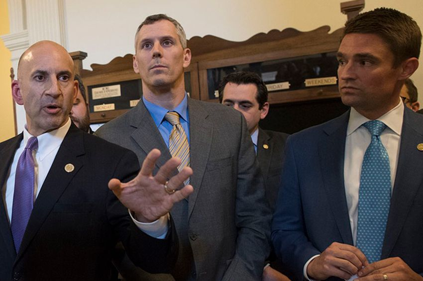 State Rep. Matt Shaheen, R-Plano, Rep. Matt Schaefer, R-Tyler and Rep. Jeff Leach, R-Plano announce their intent as part of the Texas Freedom Caucus to kill more than 100 bills on May 11, 2017.