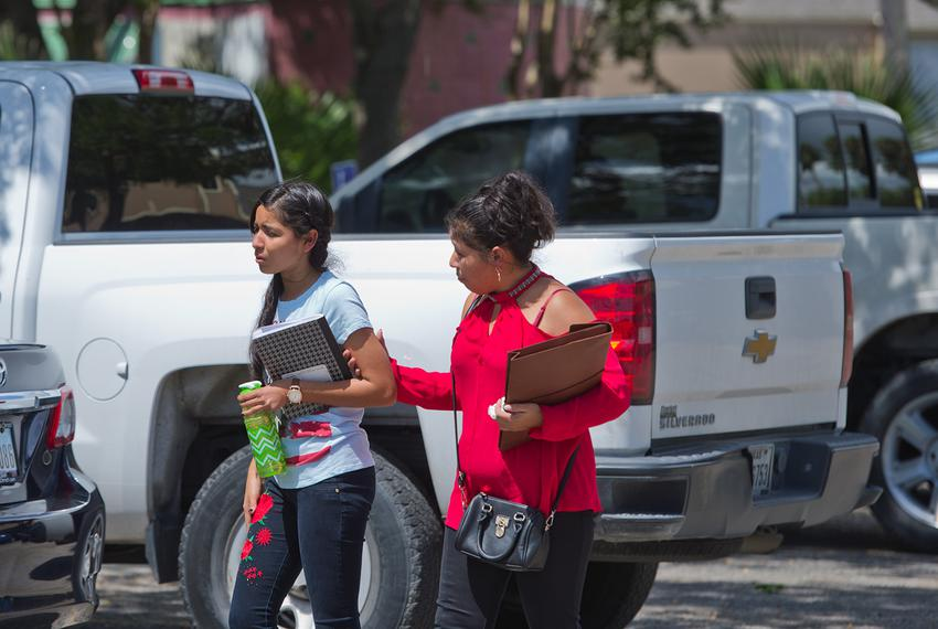 Mercedes (right), a Salvadoran asylum seeker, is reunited with her daughter, Maria in Corpus Christi on July 13, 2018. The...