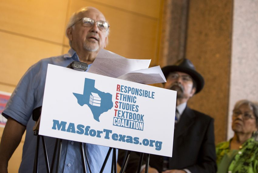 Dr. Emilio Zamora, a history professor at UT Austin, discusses factual errors in a proposed Mexican-American studies textbook during a press conference on July 18, 2016.