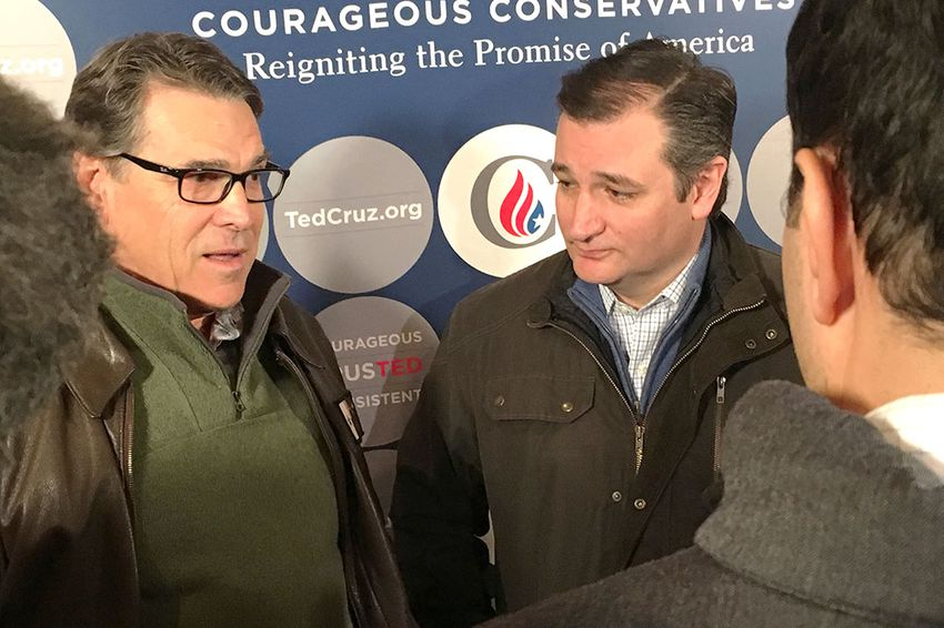 Former Gov. Rick Perry and U.S. Sen. Ted Cruz spoke to reporters on Jan. 26, 2016, in Albia, Iowa. Perry, a former 2016 candidate for president, endorsed Cruz's presidential bid on Jan. 25, 2016.
