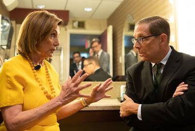 U.S. Speaker of the House Nancy Pelosi speaks with Texas Tribune CEO Evan Smith backstage at the Paramount Theatre during the Texas Tribune Festival on Sept. 28, 2019.