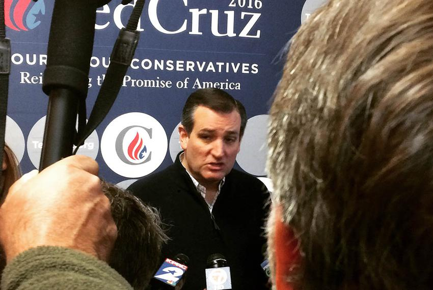 U.S. Sen. and presidential hopeful Ted Cruz campaigns in Raymond, New Hampshire a day ahead of the primary.