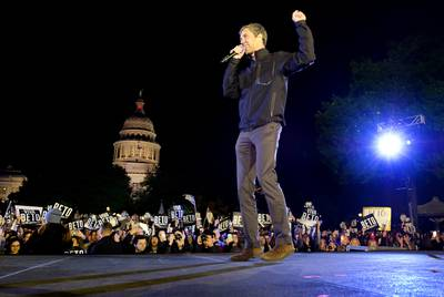 Presidential candidate Beto O'Rourke speaks to supporters gathered in front of the state Capitol in Austin, his last stop on his three-city tour that included El Paso and Houston.