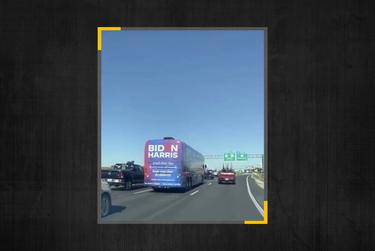 A Twitter user captured the moment a Biden-Harris bus was being followed by a caravan of Trump supporters.