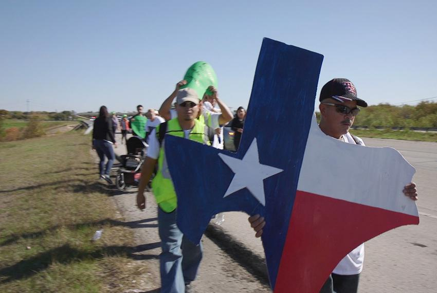 Immigrants and activists begin a 37-mile march to Austin on Nov. 19, 2015 to show their support for immigration reform. The …