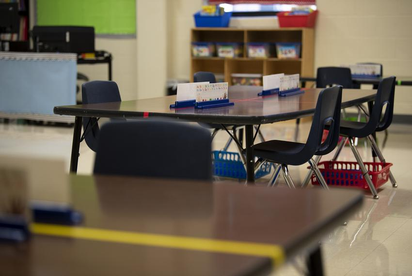 Tables are spaced out in a classroom at Ott Elementary School on Tuesday, Aug. 11, 2020 in San Antonio. The tables, which ty…