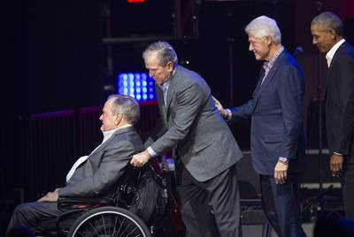 Left to right: Former Presidents George H.W. Bush, George W. Bush, Bill Clinton and Barack Obama at a hurricane relief in College Station on Oct. 21, 2017.