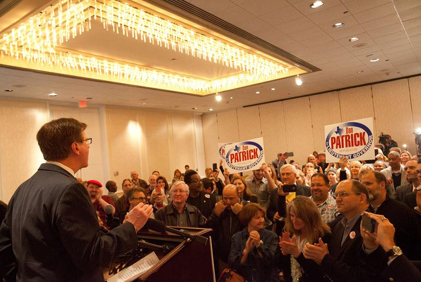 State Sen. Dan Patrick, R-Houston, speaks to supporters in Houston after primary election results indicate he is heading i...