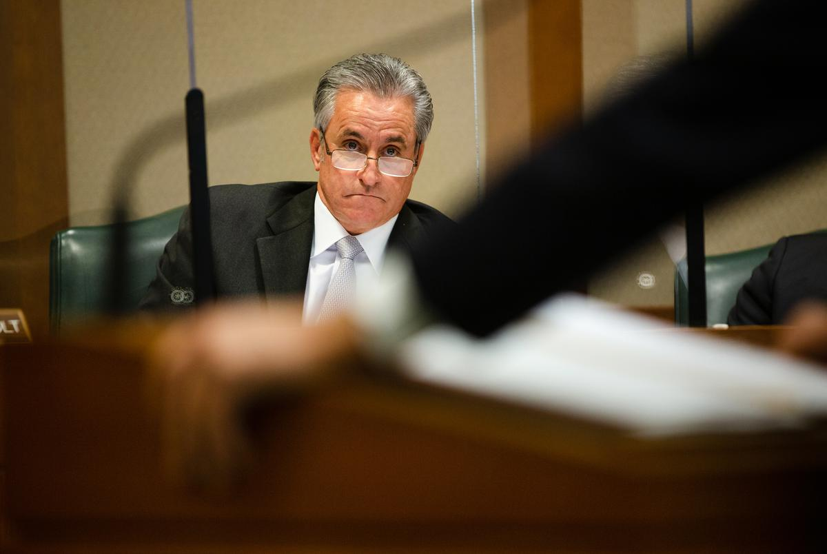 State Rep. E. Sam Harless, R-Spring, listens to Richard Peña Raymond, D-Laredo, as he presents House Bill 2166 to the House Homeland Security & Public Safety Committee at the state capitol on April 21, 2021.