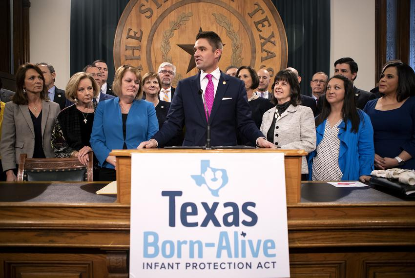 Rep. Jeff Leach, R-Plano speaks at a press conference to announce the filing of the Texas Born-Alive Infant Protection Act o…