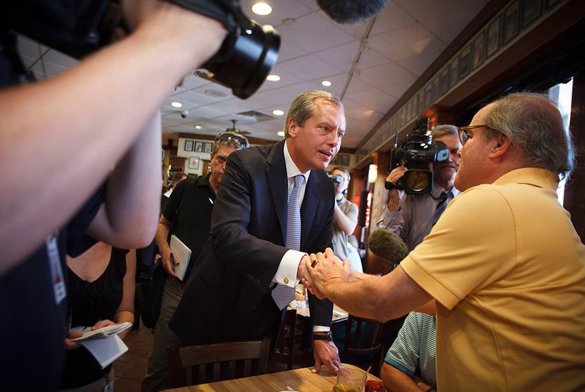 Lt. Gov. David Dewhurst met voters on July 31, 2012, in a Houston deli on the day of the GOP primary runoff. Dewhurst lost t…