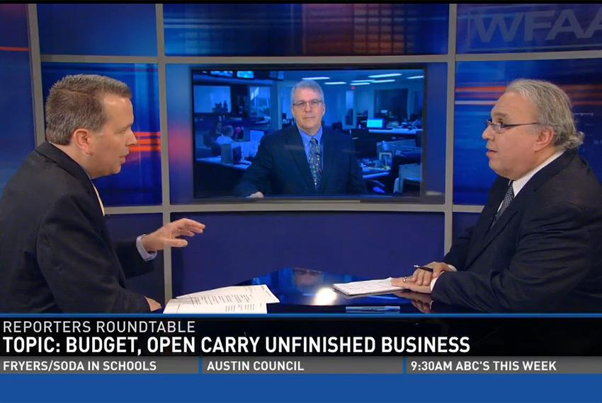 "(L-R) Jason Whitely, Tribune Executive Editor Ross Ramsey and the Fort Worth Star-Telegram's Bud Kennedy on WFAA""s on Inside…"