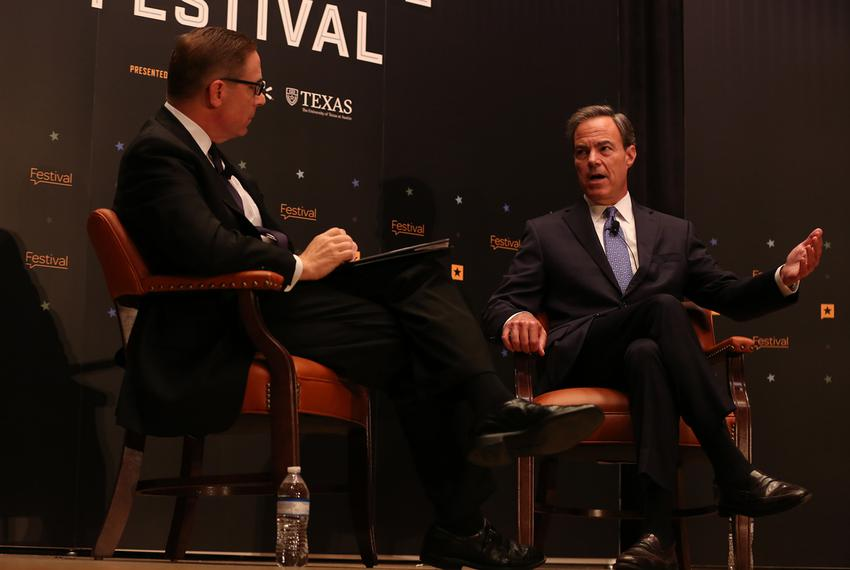 State House Speaker Joe Straus joins Tribune CEO Evan Smith at The Texas Tribune Festival on Sept. 23, 2017.