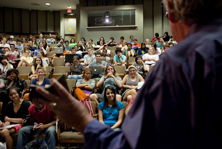 Students during class at the University of Texas at Austin Oct. 25, 2011.