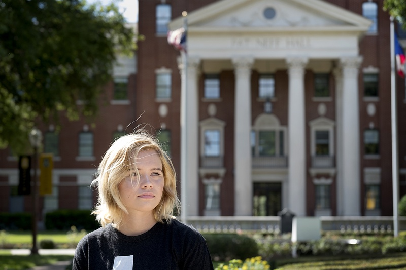 Sierra Smith in front of Neff Hall on the Baylor University campus on July 12, 2017.