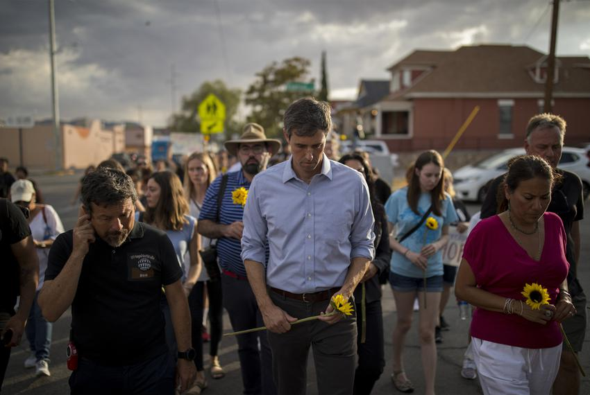 Presidential candidate and El Paso native Beto O'Rourke walks with U.S. Rep. Veronica Escobar, D-El Paso, right, during a ...