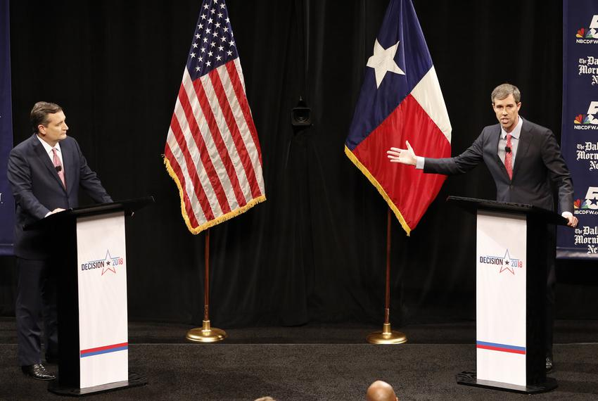 U.S. Sen. Ted Cruz and U.S. Rep. Beto O'Rourke, D-El Paso, in their first debate in Dallas on Sept. 21, 2018.