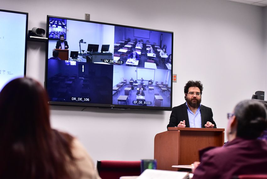 Professor Michael Ortiz conducts a modern abstract algebra class for Sul Ross students in Uvalde while students in remote classrooms in Eagle Pass and Del Rio join in online.