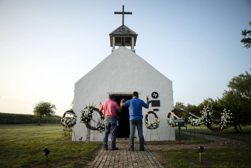 At the historic La Lomita Chapel in Mission, Rio Grande Valley residents held an early-morning vigil for migrants who drow...