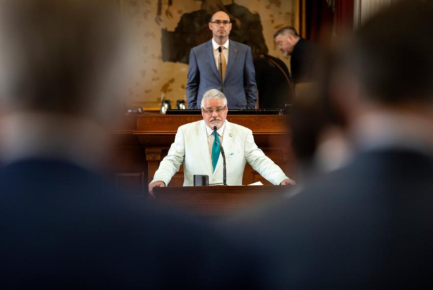 State Rep. Dan Huberty, R-Houston, listens to testimony from State Rep. Dustin Burrows, R-Lubbock, on HJ3. Huberty seeks to …