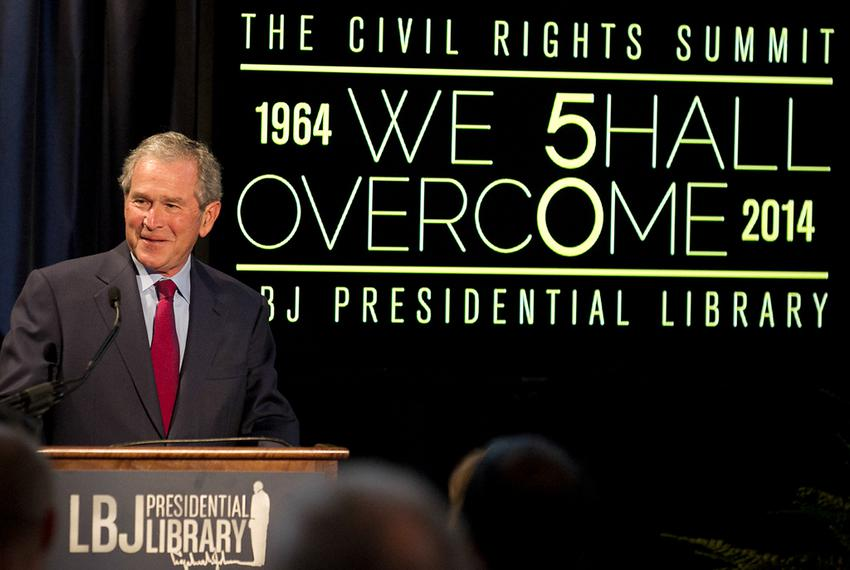Former President George W. Bush addresses a private gathering in the LBJ Library Atrium on April 10, 2014 on the last day of…