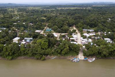Boats are docked on the banks of the Usumacinta River in La Técnica.