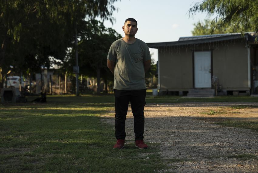 Ruben H. Martinez outside of his home in Mission on Sept. 12, 2020. Martinez plans to join the military after graduating fro…