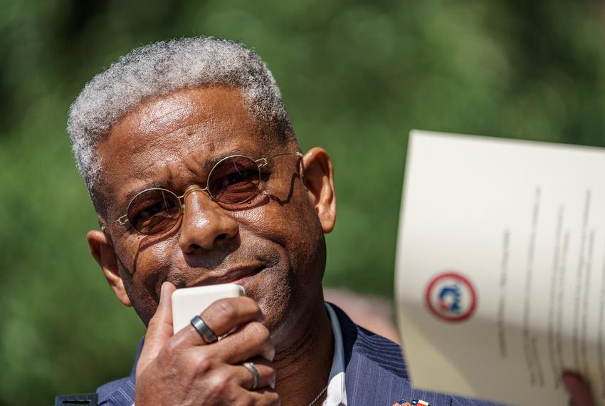 Texas Republican Party Chairman Allen West speaks to a crowd gathered at the Governor's Mansion on Saturday, Oct. 10, 2020 t…