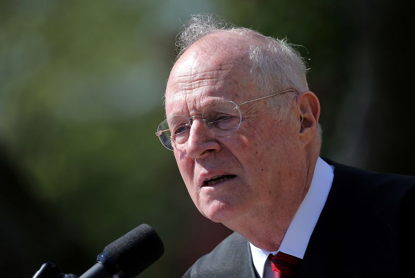 Supreme Court Associate Justice Anthony Kennedy speaks during a swearing in ceremony for Judge Neil Gorsuch as an associate justice of the Supreme Court in the Rose Garden of the White House in Washington, D.C., on April 10, 2017.