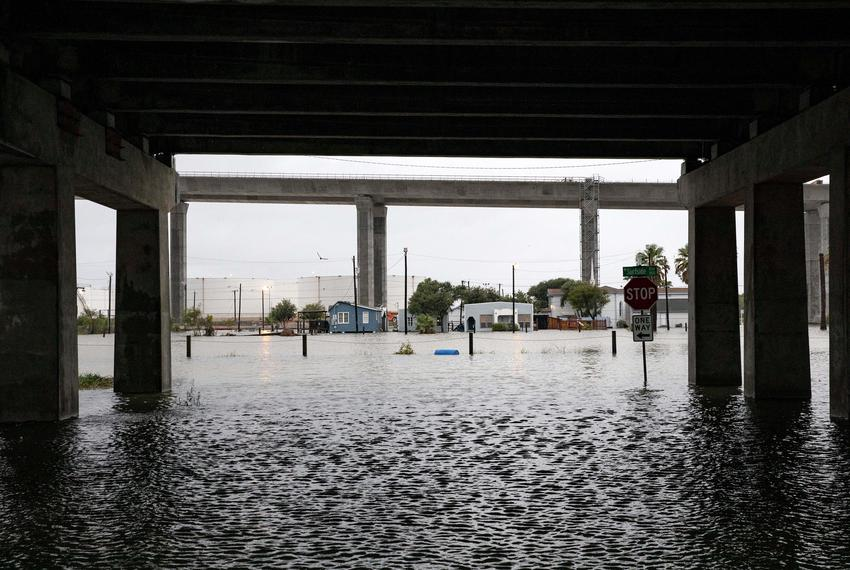High water fills the streets on Corpus Christi North Beach on the  morning after Hurricane Hanna made landfall. Courtney S...