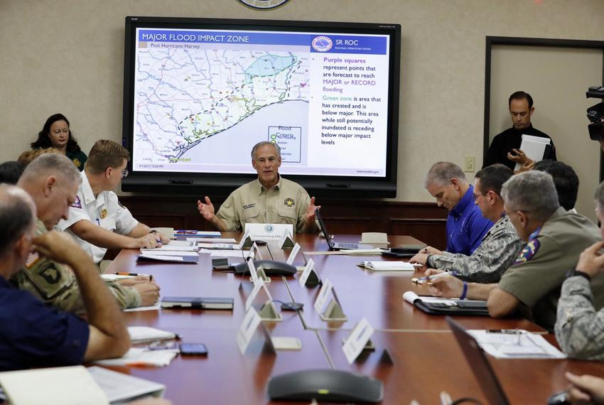 Gov. Greg Abbott presides over a briefing at the Texas Division of Emergency Management in Austin on Friday, Sept. 1, 2017.