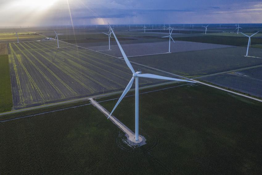 Wind turbines near Portland, Texas.
