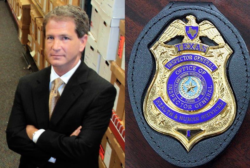 A photo of one of the $80 badges ordered by Jack Stick (left) when he was HHSC deputy inspector general.